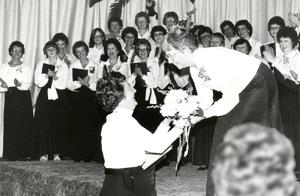 Musical Director Bette Norton receives flowers