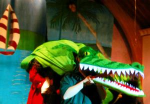 Crocodile in the process of swallowing Captain Hook!