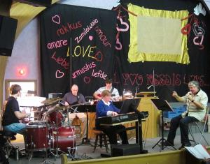 Rehearsing the band - Matt Burns, James Gannett, Cathy Bryden, Marc Girard, Roger Girard