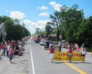 Canada Day Parade - the folded banner leads the way